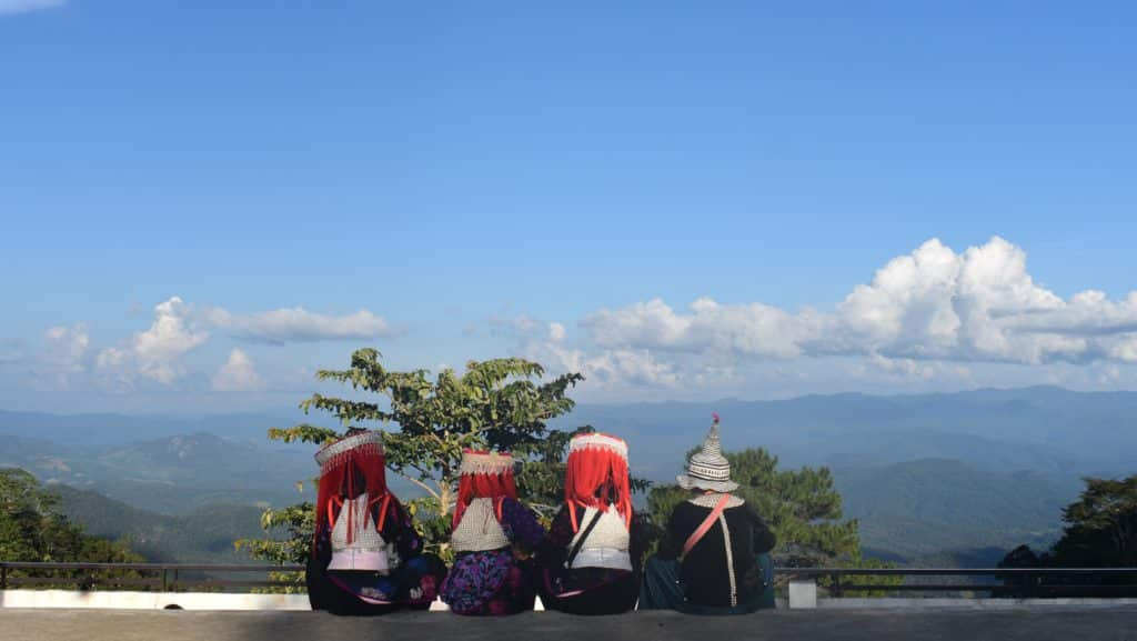 4 hill tribe children taking in the views from Kew Lom viewpoint