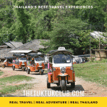 Three Tuk Tuks in convoy on a dirt road in the mountains of Northern Thailand with bright blue skies