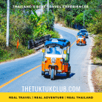 Two Tuk Tuks driving along a small country road on a Thailand adventure