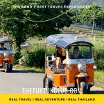 Two Tuk Tuks with adventurous travellers driving along a small road in Chiang Mai's countryside