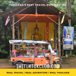 A Tuk Tuk in front of a golden Buddha image in a remote forest Temple on a Tuk Tuk Adventure