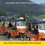 Smiling travellers waving from there Tuk Tuks on a Thailand adventure
