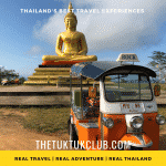 A Tuk Tuk in front of a giant golden Buddha image on a mountain top in Northern Thailand