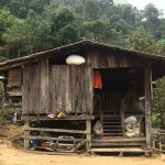 A small wooden home in a Karen village high in the mountains of Thailand