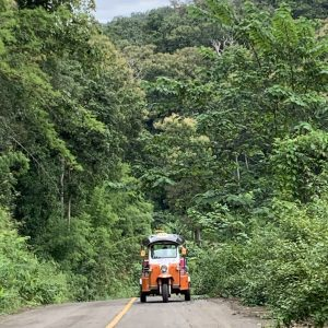 A Tuk Tuk driving up a steep road through the forest in Northern Thailand