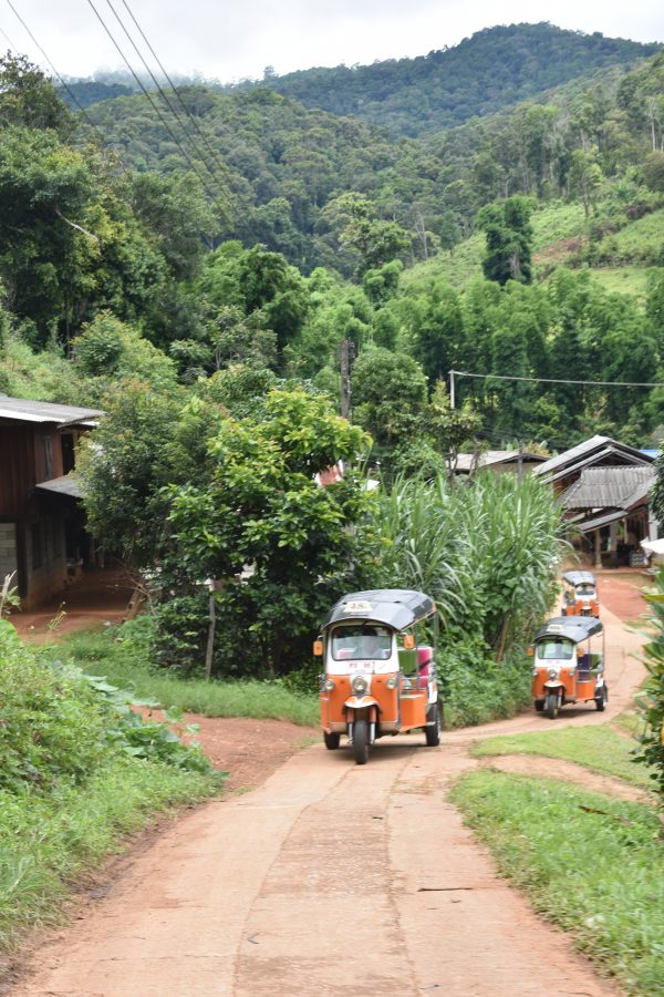 A convoy of three Tuk Tuks driving up a small track in a mountain Hill Tribe village in Northern Thailand