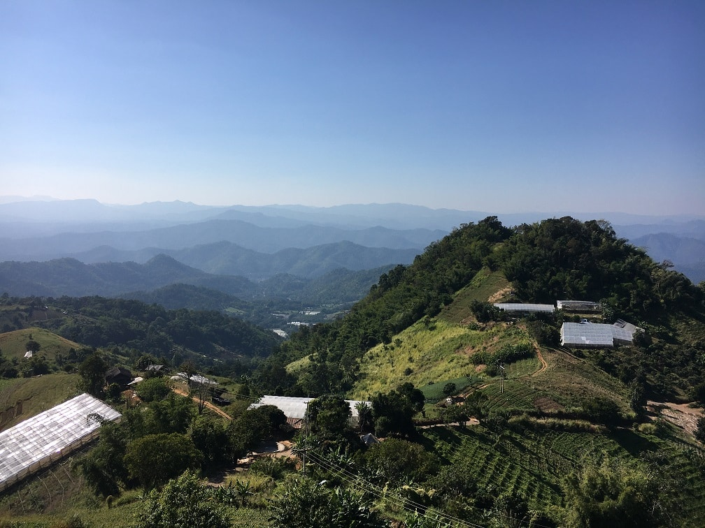 Bright blue skies and mountains i Northern Thailand