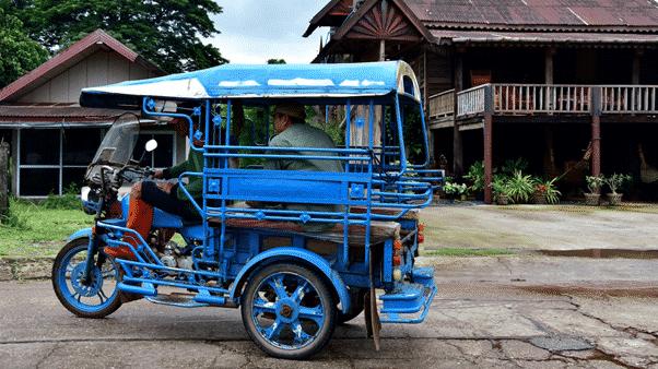 Blue motorbike style Tuk Tuk from North East Thailand