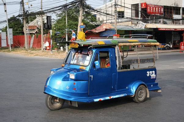 A Tuk Tuk with a cone on it's nose, Ayutthya style