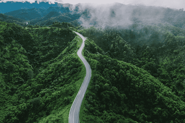 Road along a mountain ridge in Northern Thailand