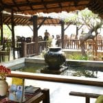 The outdoor lobby area of a hotel in Pai, Northern Thaiiland