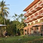 A three storey hotel and gardens in Northern Thailand